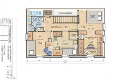 121,5 кв м  план 2-го этажа